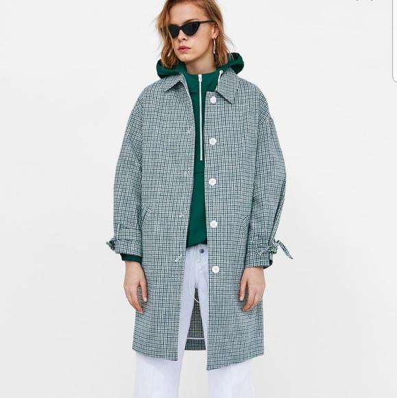 f03769636 Zara Jackets & Coats | Check Coat With Bow Size M | Poshmark